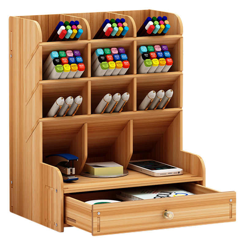 Kayu Meja Organizer Multi-Fungsional DIY Pen Holder Box Desktop Stasioner Home Office Supply Desktop Rak Penyimpanan
