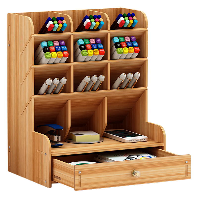 Wooden Desk Organizer Multi-Functional DIY Pen Holder Box Desktop Stationary Home Office Supply Desktop Storage Rack