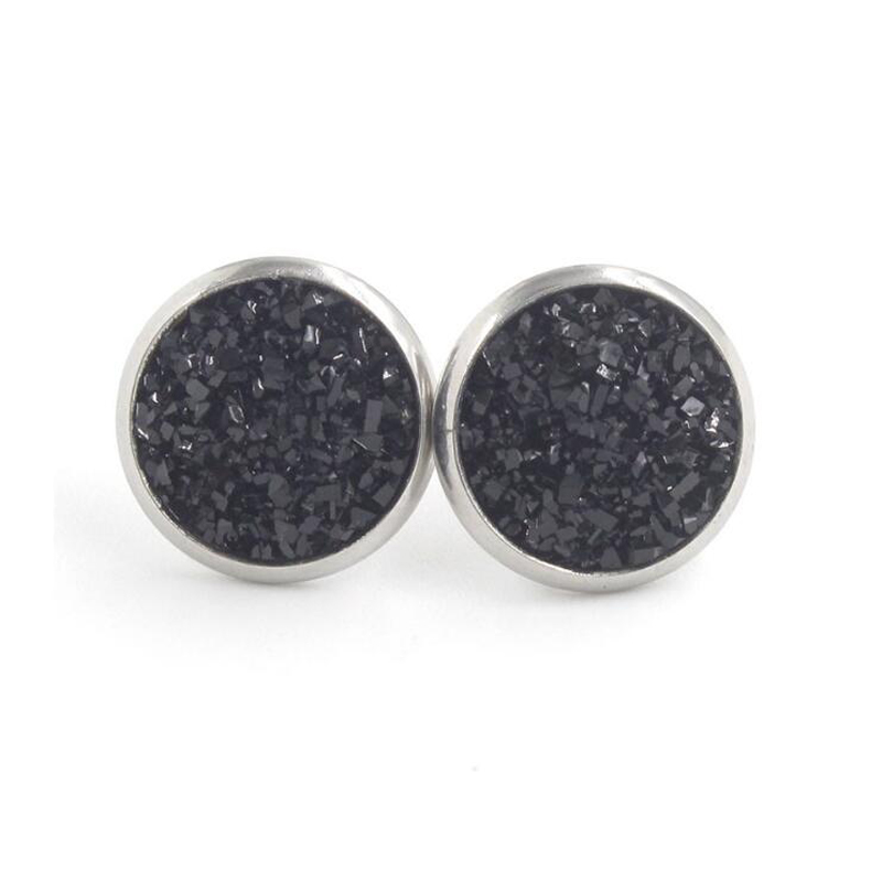 Hd941d0b96a5946d49a29d663eb95930bO - Fnixtar 12mm 100% Stainless Steel Shinning Resin Stud Earring for Women Top Quality Fashion Earrings Party Ear Jewelry