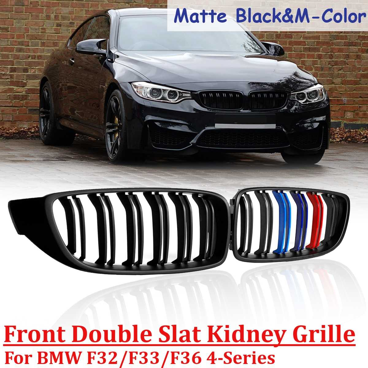 1 Pair Gloss Black-M color Matte Black Front Kidney Grille Double Slat M4 Sport Style Grill for BMW F82 F80 F32 F36 2013 -2016