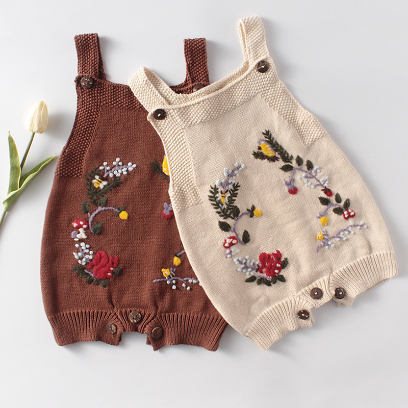 Baby Knitted Rompers Hand-embroidered Sleeveless Jumpsuit Newborn Boys Girls Romper Outfits Clothes Spring Autumn Playsuit