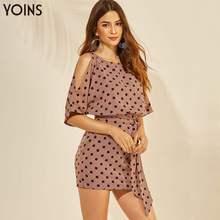 YOINS Women Dress Summer Autumn Polka Dot Off Shoulder Drawstring Waist Mini Dresses Sexy Party Vestidos Sundress Streetwear OL цена