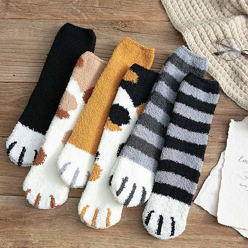 Fashion Winter Thicken Warm Women Socks Cute Cat Paw Cartoon Lovely Sleeping Home Floor Bedroom 6 Colors Socks Harajuku Kawaii