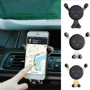 Universal Smile Emoticon Air Vent Clip Car Phone Holder Bracket Vehicle Supplies Gravity Phone Holder For Cell Phone GPS Bracket image