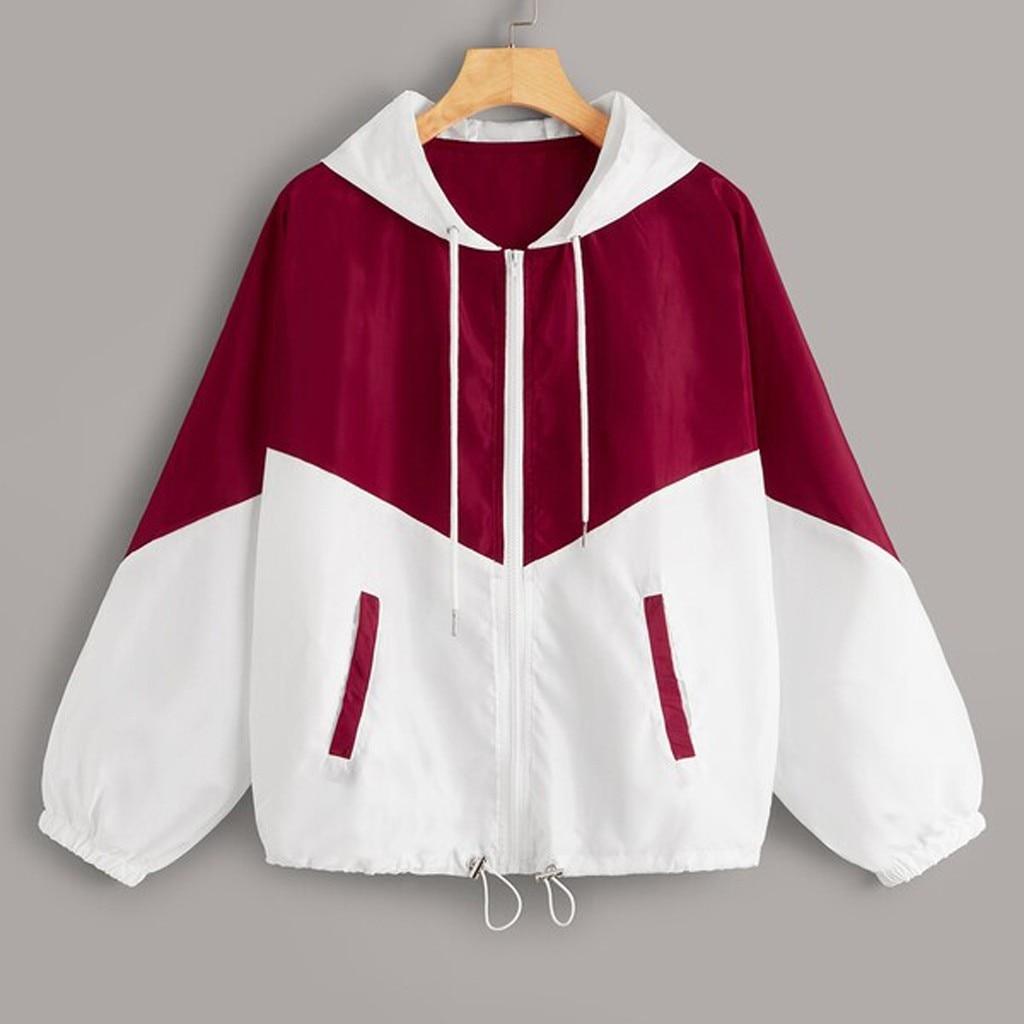 Feitong Hoodies Sweatshirt Women Long Sleeve Patchwork Pocket Sweatshirt Zip Up Drawstring Hooded Sweatshirt рубашка женская