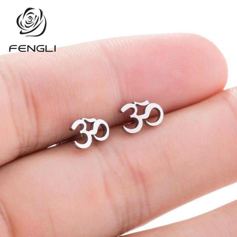 FENGLI OM ฮินดูพุทธโยคะสตั๊ดต่างหูผู้หญิงผู้ชายสแตนเลสขนาดเล็กแฟนชาติพันธุ์เครื่องประดับหู