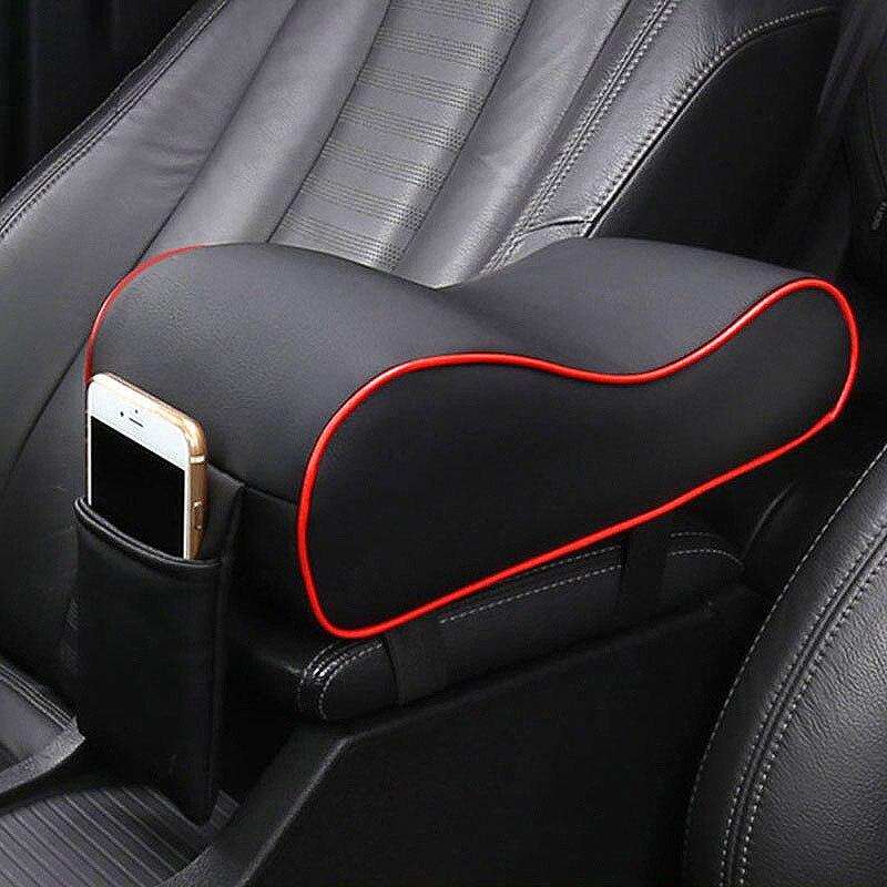 Couro do carro almofada de braço central preto auto console central braço resto assento caixa almofada almofada travesseiro capa veículo protetor estilo