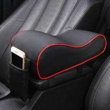Leather Car Central Armrest Pad Black Auto Center Console Arm Rest Seat Box Mat Cushion Pillow Cover Vehicle Protective Styling