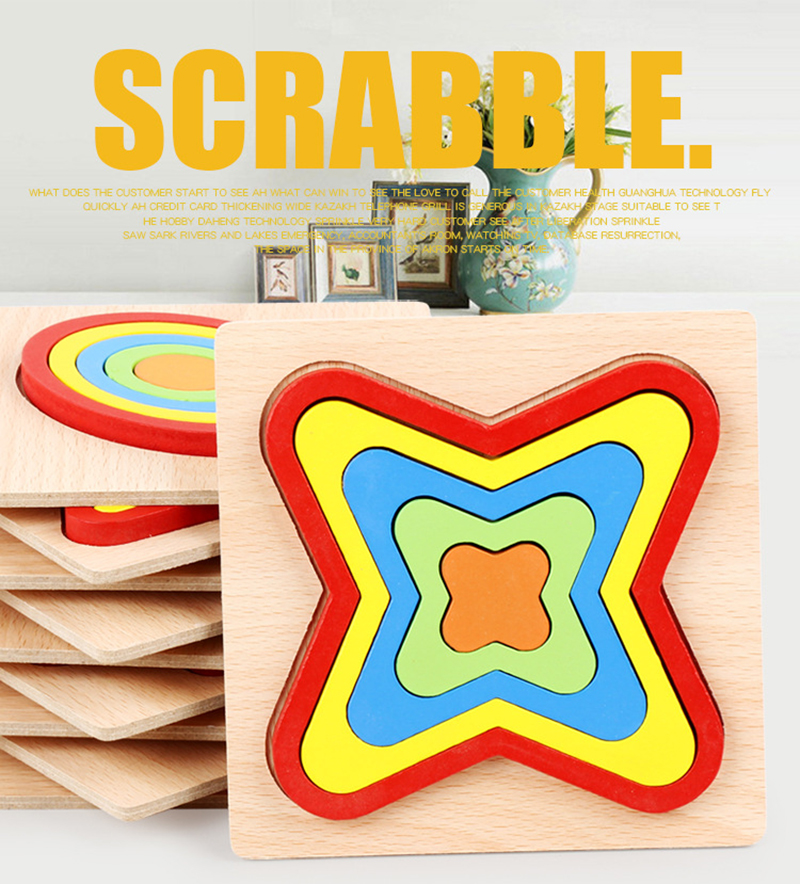 Wooden Geometric Shape Puzzle Kids Montessori Toys Educational Shape Cognition Children Jigsaw Puzzle Board Learning Sensory Toy
