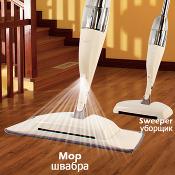 3-in-1 Spray Mop Broom Set Magic Mop Wooden Floor Flat Mops Home Cleaning Tool Household with Reusable Microfiber Pads Lazy Mop