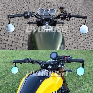 """Image 5 - Runde 7/8 """"Lenker Aluminium Legierung Motorrad Rückspiegel Moto Ende Motor Seite Spiegel Motorrad Cafe Racer Zubehör"""