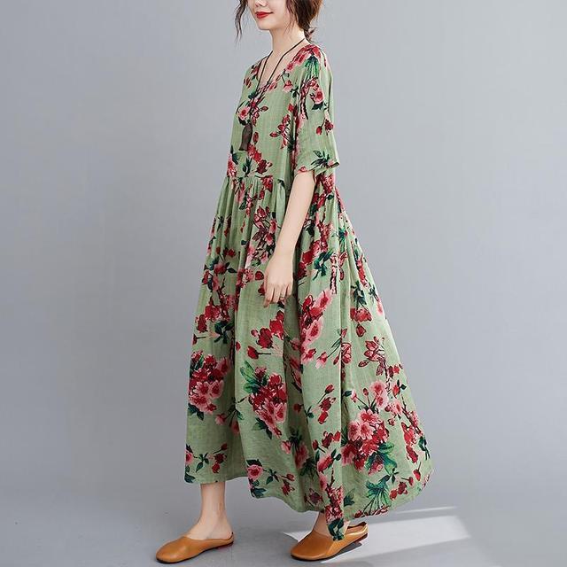 Plus Size Floral Summer Beach Dress Korean Cotton Ladies Dresses for Women 4XL 5XL 6XL Vintage Print Oversized Long Dress 2020 2