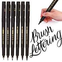 4 tamanhos nibs caligrafia caneta escova rotulação canetas conjunto flexível recarga escova marcadores conjunto para assinatura desenho mão rotulação
