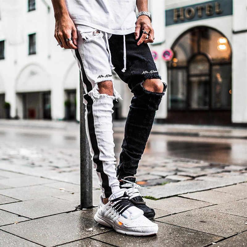2020 hot men's fashion ragged jeans pants biker slim slim straight foot  wear denim trousers new fashion thin jeans men|Jeans| - AliExpress