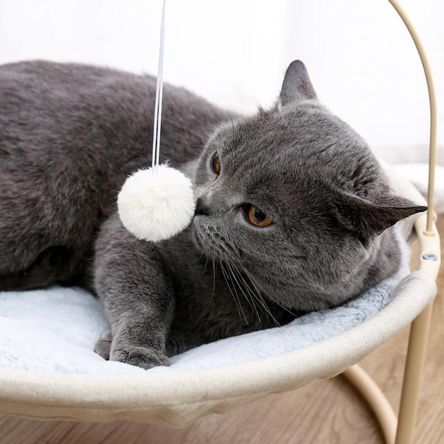 Pet Cat Bed Soft Plush Nest Cat Hammock Detachable Mat Pet Bed with Dangling Ball for Cats Small Dog Squar Tumbler Rocking Chair 3