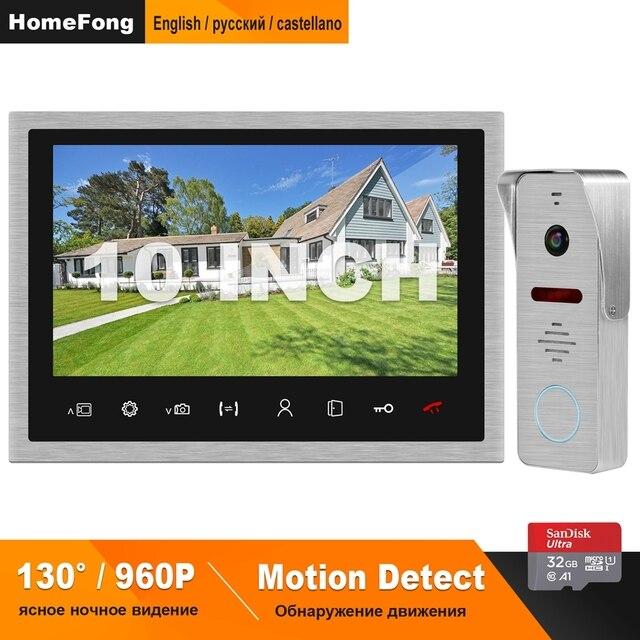 HomeFong Video Citofono Wired 10 pollici Telefono Del Portello Del Video HD 960P 130 Gradi Rilevazione di Movimento di Sostegno di Video Campanello A Casa citofono