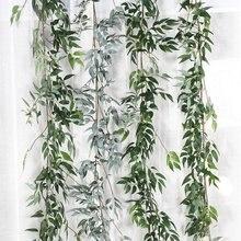 Plastic Artificial Flower Rattan string Ivy green Leaf Garland Plants Vine Fake Foliage Flowers Home Decor