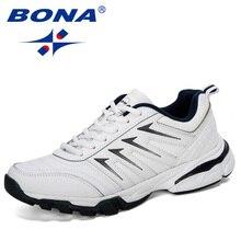 BONA 2019 yeni tasarımcılar inek bölünmüş koşu ayakkabıları erkekler atletik eğitmenler Zapatillas spor ayakkabı erkekler açık yürüyüş spor ayakkabı rahat