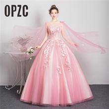 Party Gown Quinceanera-Dress Flower Sweet V-Neck Fashion Appliques Banquet Vestido-De-Noiva