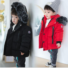 Baby Boys Girls Jacket Children Kids Winter Thick Hooded Outerwear Coat Christmas Warm Parka Cotton-Padded Clothes Snow Wear