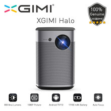 Xgimi halo versão global dlp mini projetor tv sem tela 1080p hd completo android 9.0 800ansi bolso cinema 17100mah bateria