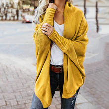 2019 Winter knitted Sweater Women Jacket Coat Solid Cardigan Female Clothes Patchwork Batwing Sleeve Long Cardigans Oversized