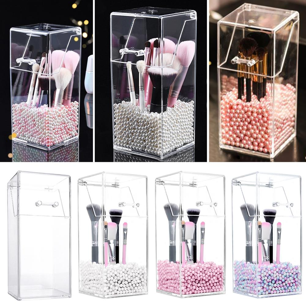 Plastic Clear Desktop Makeup Brush Storage Box Organizer Bucket With Cover Beauty Makeup Tools