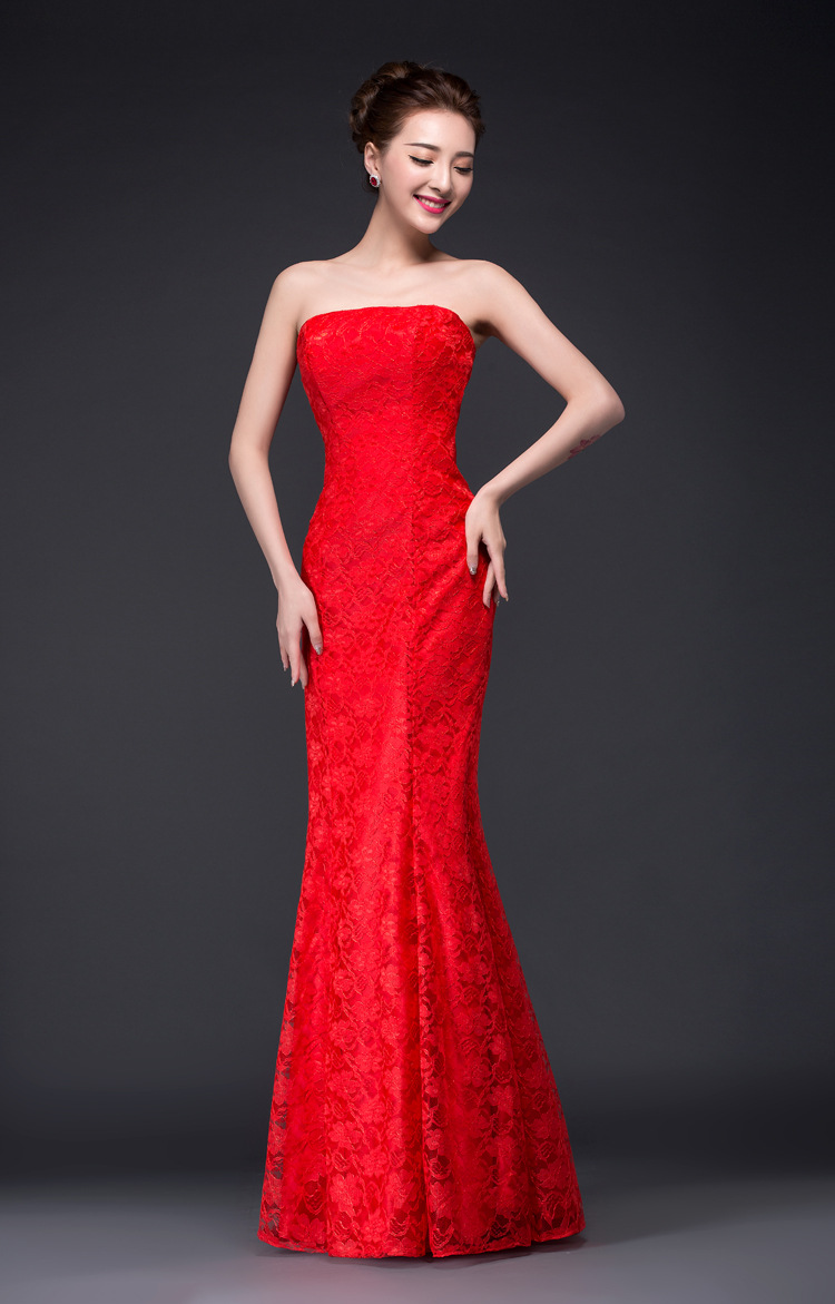 New Style Lace Qidi Fishtail Dress For Toast Evening Gown Host Costume Waist Hugging Slimming Large Size Customizable