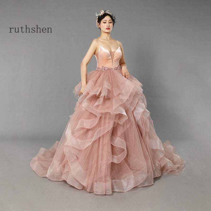 2020 New Evening Dress Ball Gown Ruffles Elegant Prom Dresses Vestido De Festa Longo