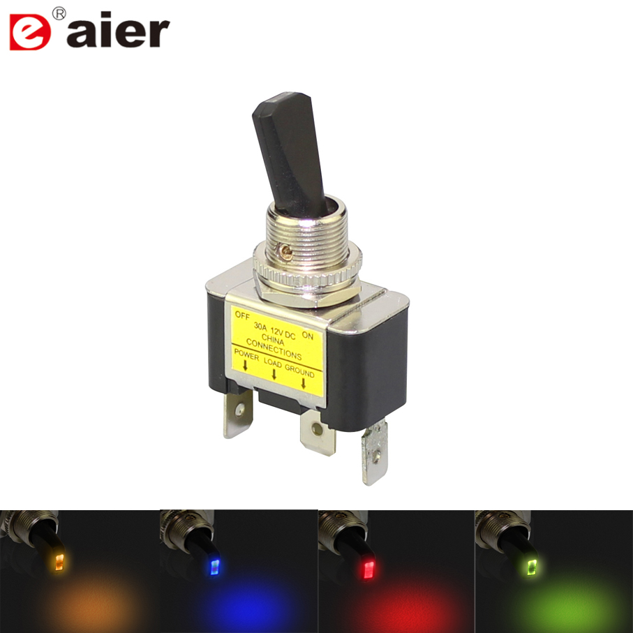 30A 12VDC LED Toggle Switch Automotive SPST ON Off 2 Position 3Pin for Car Truck Boat ATV for Automotive