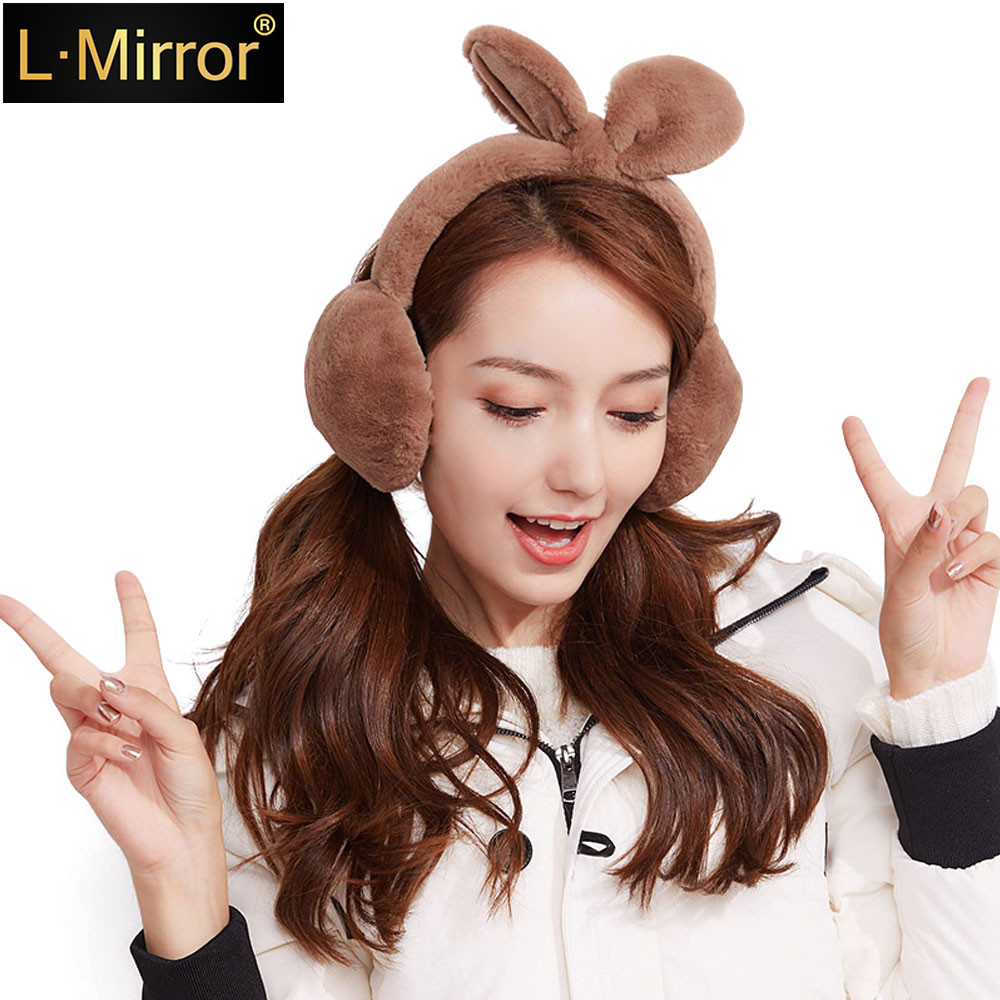 L.Mirror 1Pcs Ladies Girls Teens Adjustable Warm Faux Plush Rabbit Earmuffs Foldable Removable