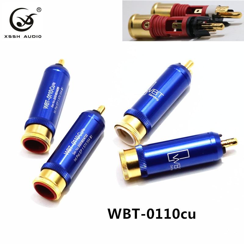 4pcs 8pcs RCA 0110CU XSSH Audio YIVO Hi-End HIFI DIY Gold Plated Male Audio RCA plug Plugs Connector Jack for Audio Cable Cord