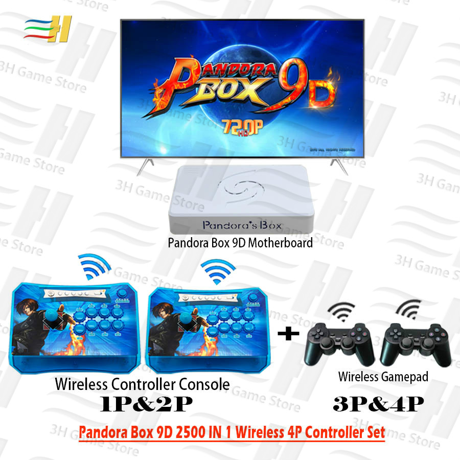 Pandora Box 9D 2500 In 1 4 Players Wireless Controller Set Wireless Arcade Controller And Gamepad 3d Mortal Kombat Plug And Play