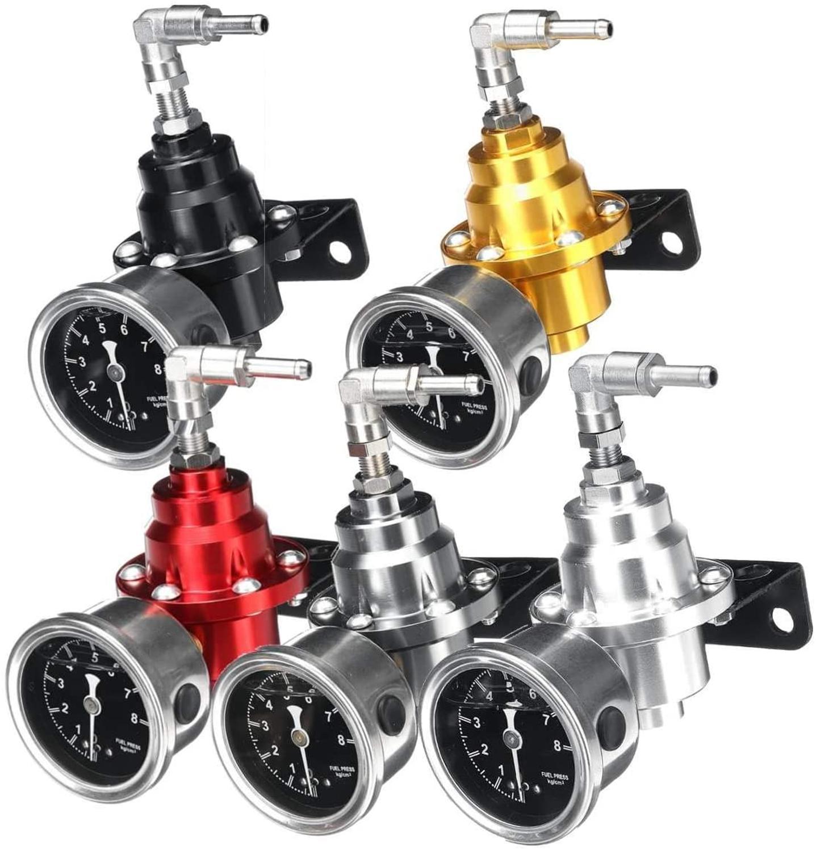 Fuel-Pressure-Regulator Gauge-Kit Universal Black Aluminum Titanium 6-Color with Red