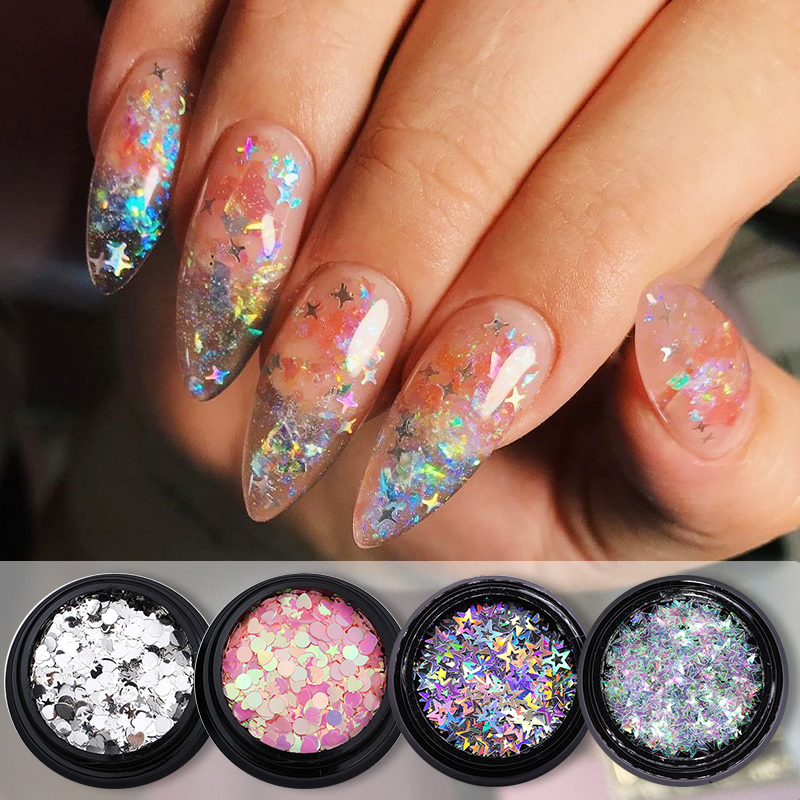 1box AB Glitter Nail Flakes Sequins Mixed Star Heart Round Shape Paillette Nail Art Polish Holographic Decoration Tips