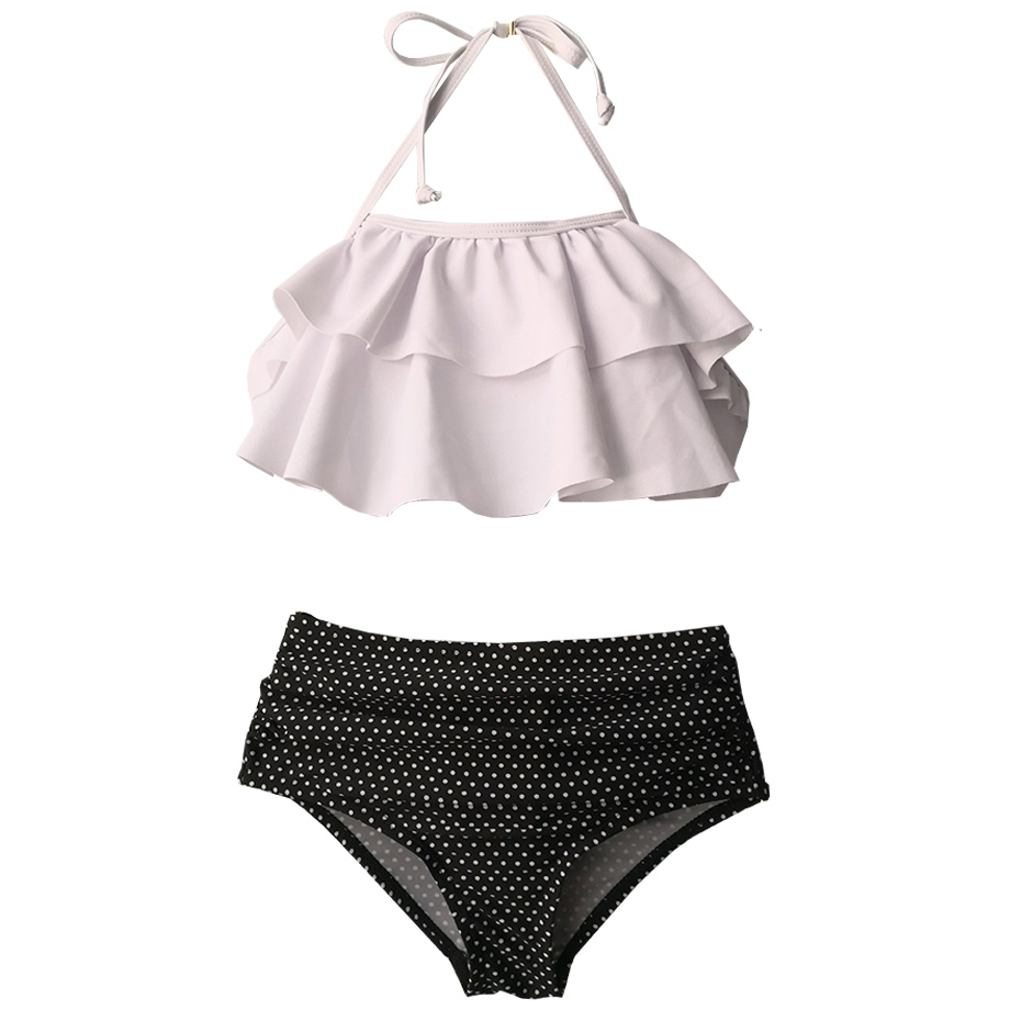 Girl Swimsuit Bikini-Set Teenage Two-Piece Ruffle High-Waist Kids Year HALTER-TOP Dot title=