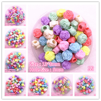 50pcs/lot Multicolour Acrylic Large Hole Beads for Children Children Beads for Jewelry Making DIY Handmade Bracelets Necklace image
