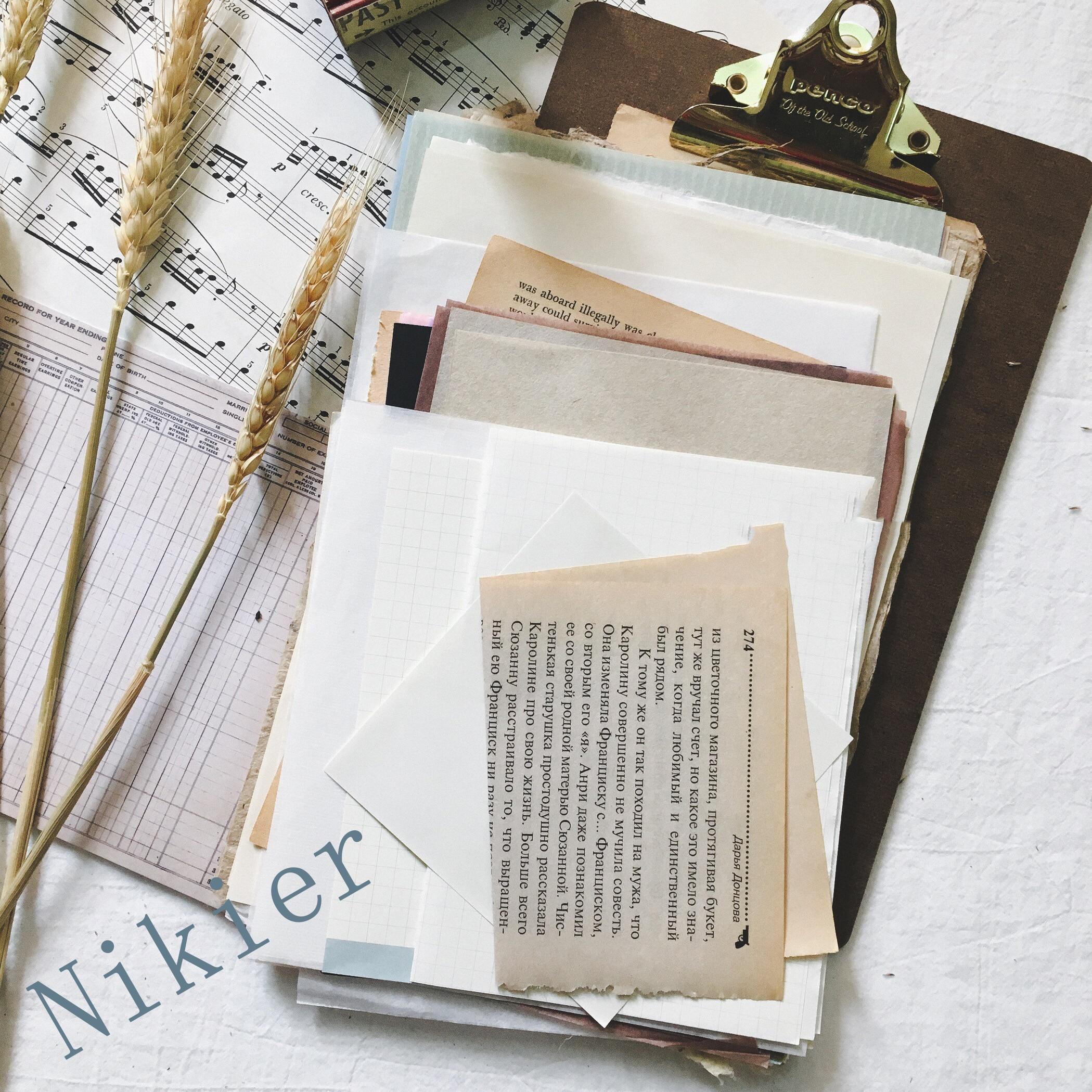 56 Sheets\package Vintage English Book\Old Textbook Retro Handwritten Plaid\Acid\Kraft Paper Material DIY Card Making/Journaling
