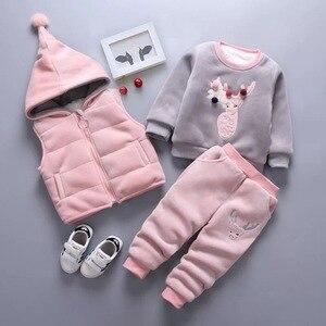 Image 3 - ใหม่2020เด็กชายหญิงอบอุ่นชุดฤดูหนาวการ์ตูนแมวเด็กหนาHooded Vest + เสื้อ + กางเกง3Pcsชุดกีฬาเสื้อผ้าเด็ก