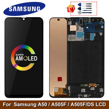 Super AMOLED Für Samsung Galaxy A50 SM-A505FN/DS A505F/DS A505 LCD Display Touch-Screen-Digitizer Mit Rahmen für Samsung A50 lcd