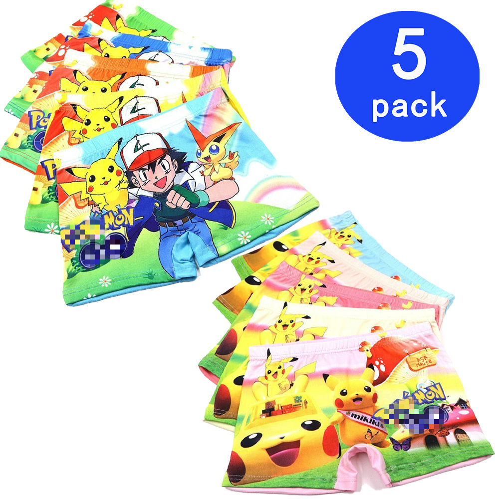 5 Pcs Boys Underwear Cute Briefs Panties Kids Baby Boxer Briefs Cartoon Pokemon Wholesale Children Boy Underpants 3-11T