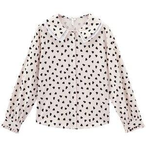 Image 5 - INMAN , осень 2019, Новое поступление, Ретро стиль, для молодых девушек, с милым отложным воротником, с принтом, 100% хлопок , женская блузка