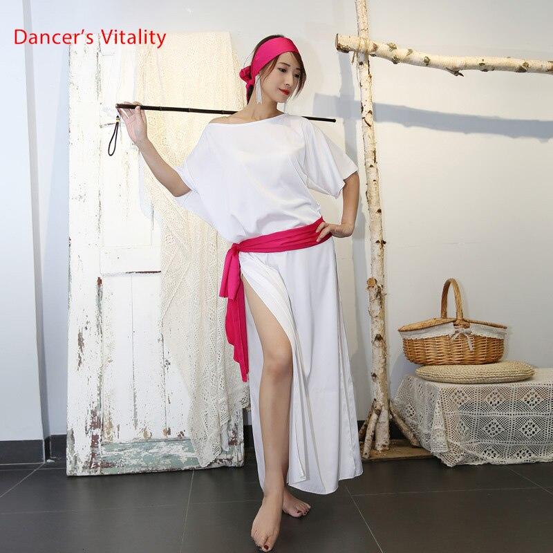 New Women Dancewear Belly Dance Clothes Baladi Saidi One-piece Satin Dresses Girls Costume Bellydance Dress With Headpiece