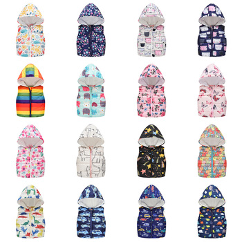 Fashion Vest for Girls Boys Hooded Cotton Winter jacket Baby Girl clothes boy hooded vests Kids Sleeveless Coats Child Outerwear new fashion denim child waistcoat winter coats warm fleece baby girls boys vest kids outfits children outerwear for 70 140cm