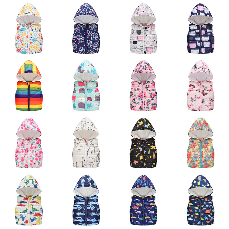 Multicolor Baby Sleeveless Hooded Cotton Warm Vest Jacket For Girls Boys Clothes Thicken Cartoons Kids Vest Outwear Clothes
