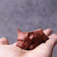 Creative Purple Clay Sleepy Dog Tea Pet Teaware Supplies Ceramic Small Animal Figurines Lucky Puppy Home Decoration Crafts