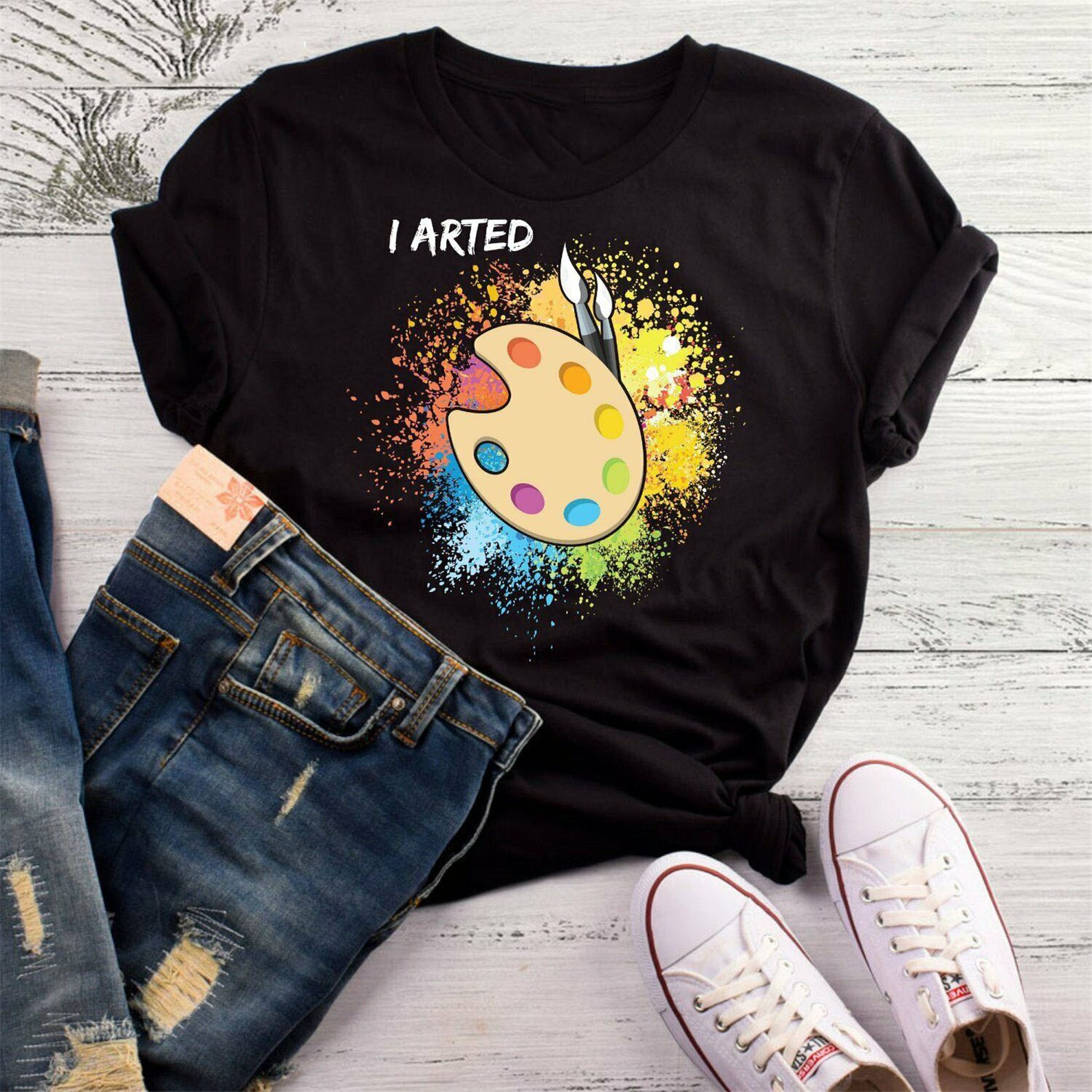 I Arted T-<font><b>Shirt</b></font> Funny Art Teacher Tshirt Artist Artist Gift, Gift For <font><b>Ar</b></font> Tops Tee <font><b>Shirt</b></font> Cotton short sleeve image