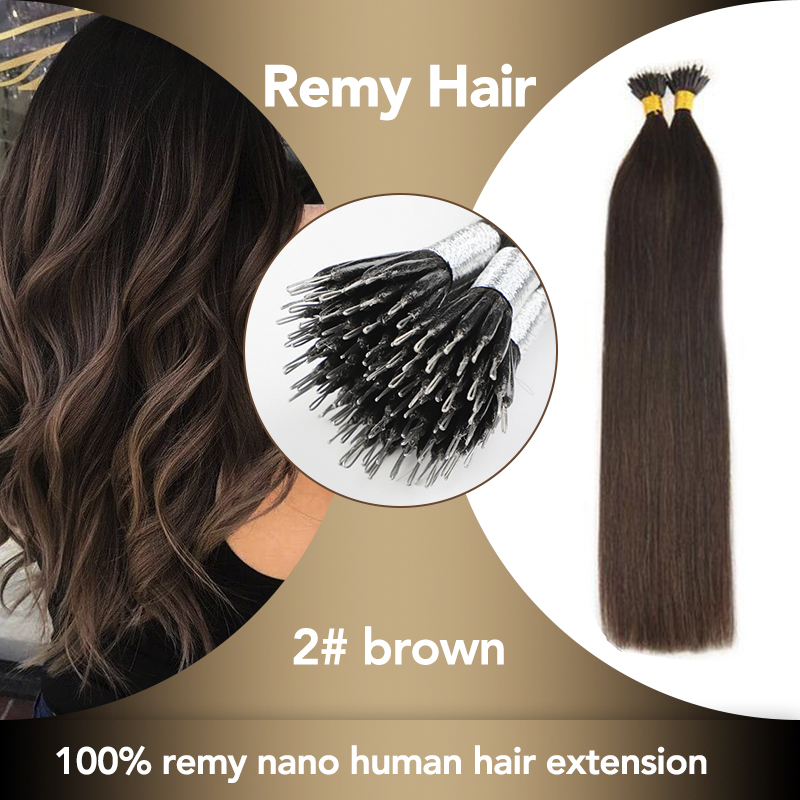 Sobeauty Nano Tip Hair Human Extensions Remy Hair  20''  Straight Brown Hair Extensions Micro Beads Extensions Hair Capsules