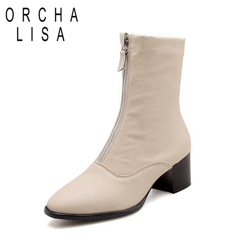 ORCHA LISA women's winter <font><b>boots</b></font> <font><b>Block</b></font> High <font><b>heels</b></font> Female leather front zipper shoes beige pointed toe <font><b>ankle</b></font> <font><b>boot</b></font> large size 46 45 image