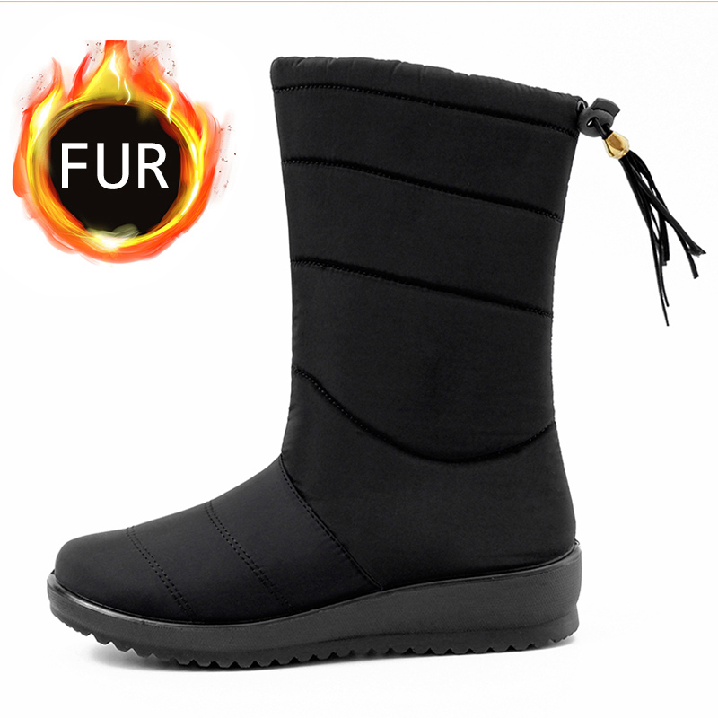 Women Boots Mid-Calf Snow Boots With Low Heels Winter Shoes Women Winter Boots Waterproof Warm Wedges Botas Mujer Shoes Female